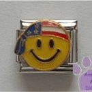 American Smiley Face Italian Charm wearing a flag bandanna
