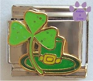 Lucky Irish Shamrock and Leprechaun Hat Italian Charm