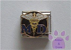 MD Italian Charm with a detailed Caduceus