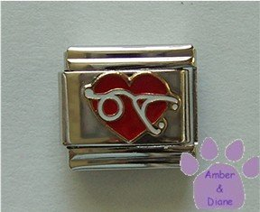 Red Heart with Stethoscope Italian Charm Love Nursing or Doctoring