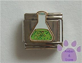 Scientific Flask Italian Charm with green glitter contents