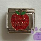 Best teacher on a Large Red Glitter Apple Italian Charm