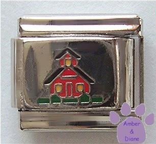 Cute Little Red School House Italian Charm for Teacher