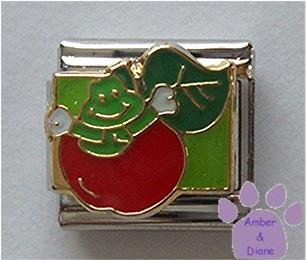 Juicy Red Apple with Worm Italian Charm for Teacher