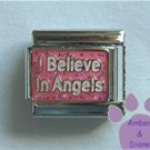 I Believe in Angels Italian Charm on pink glitter background