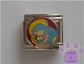 Mary and Baby Jesus Italian Charm on a magenta disc