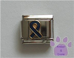 Dark Blue Ribbon Italian Charm Child Abuse Prevention and Arthritis