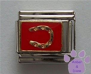 Lucky Horse Shoe Italian Charm Goldtone horseshoe on Red Enamel