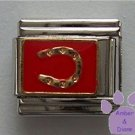 Lucky Horse Shoe Italian Charm Goldtone horseshoe on Red Enamel