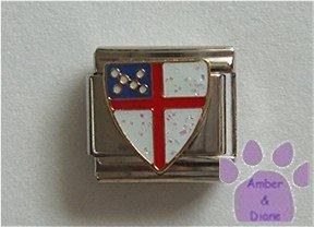 White Glitter Crest Italian Charm red cross Coat of Arms