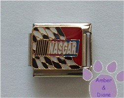 NASCAR Italian Charm with a black and white checkered flag