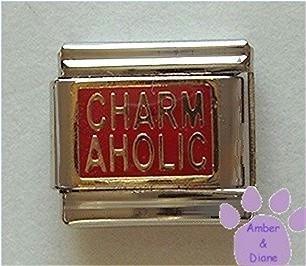 CHARMAHOLIC Italian Charm goldtone on red background