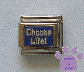 Choose Life Italian Charm white on blue enamel background