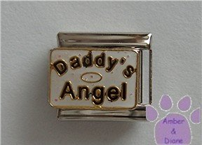 Daddy's Angel Italian Charm on white glitter with halo