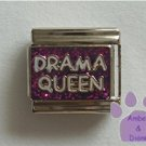 Drama Queen Italian Charm in white on purple glitter background