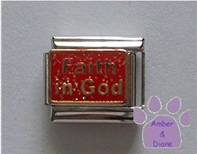 Faith in God Italian Charm on red glitter enamel