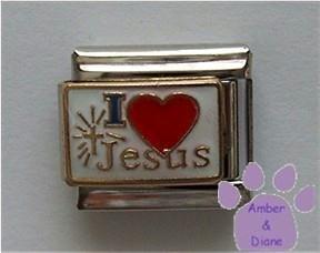 I love (red heart) Jesus Italian Charm with Shining Cross