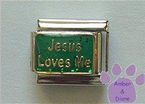 Jesus Loves Me Italian Charm on green glitter