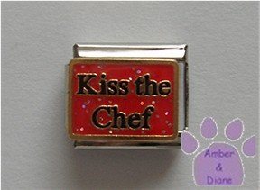 Kiss the Chef Italian Charm baby girl on red glitter