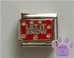 LET IT SNOW Italian Charm with white snowflakes on red