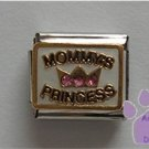 MOMMY'S PRINCESS in black Italian Charm with pink crystals in a crown