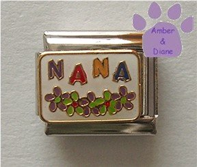 NANA Italian Charm on white enamel with colorful flowers