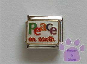 Peace on earth Italian Charm with colorful lettering