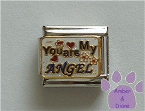 You are My ANGEL Italian Charm with hearts and flowers