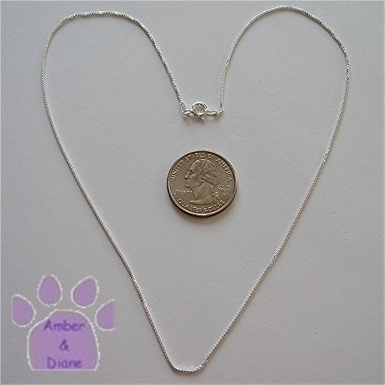 Sterling Silver Box Chain 18 inches long 1mm diameter Italy