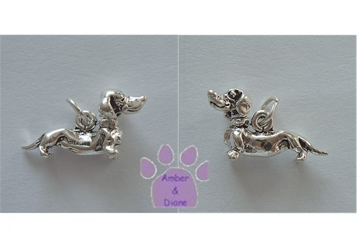 Dachshund Sterling Silver Pendant head turns charm