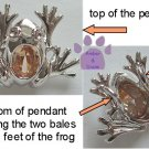 Frog Sterling Silver Pendant with champagne cubic zirconium charm