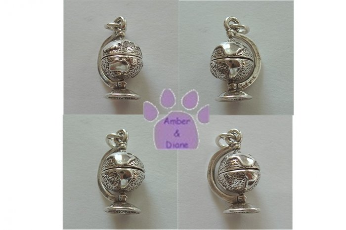 Globe on a Sterling Stand Silver Pendant globe turns charm
