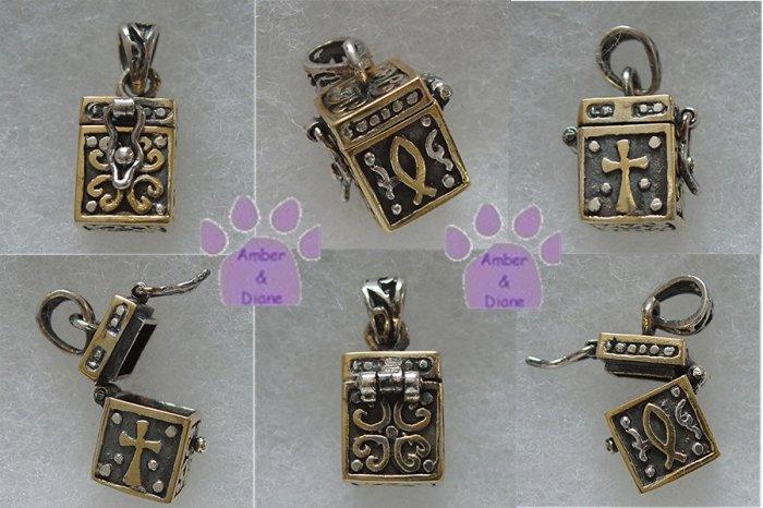 Large Two-Tone Prayer Box Sterling Silver Pendant charm