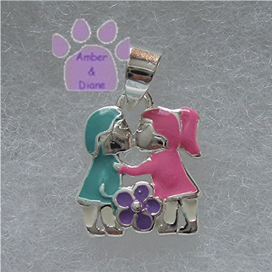Little Boy and Girl Sterling Silver Pendant First Kiss charm