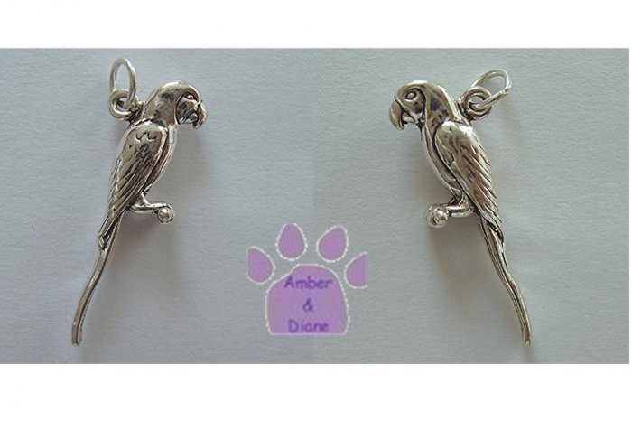 Macaw Parrot Sterling Silver Pendant head forward facing to the side charm