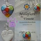Millefiori Heart Shaped Pendant Murano Glass Hand Made charm set in sterling silver