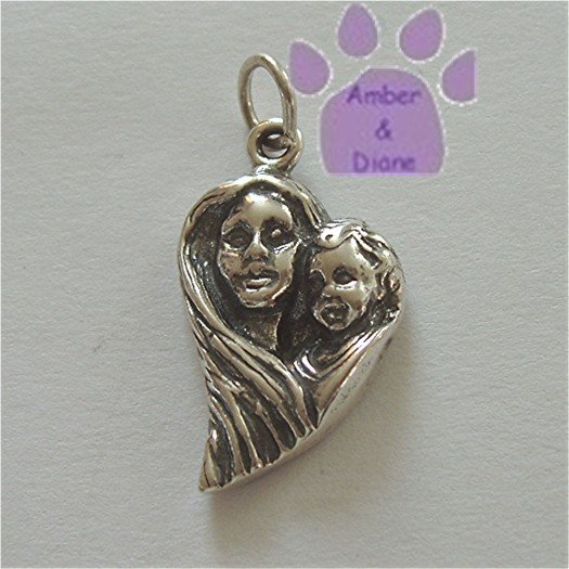 Mother and Child Sterling Silver Pendant shaped in a heart charm