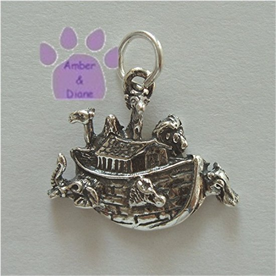 Noah's Ark Sterling Silver Pendant with animals charm