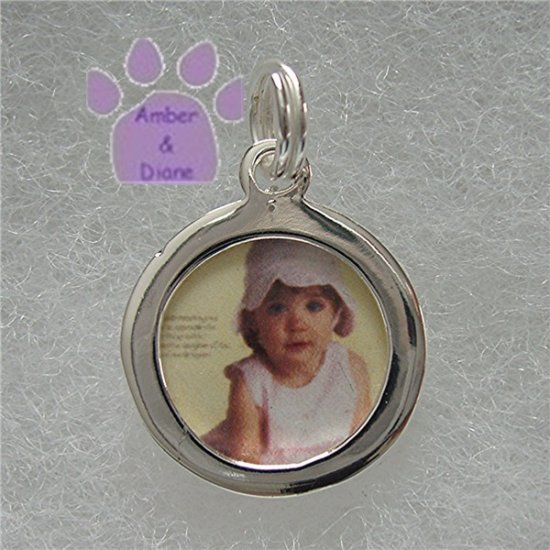 Photo Frame Pendant - Round - Add your own picture sterling silver charm