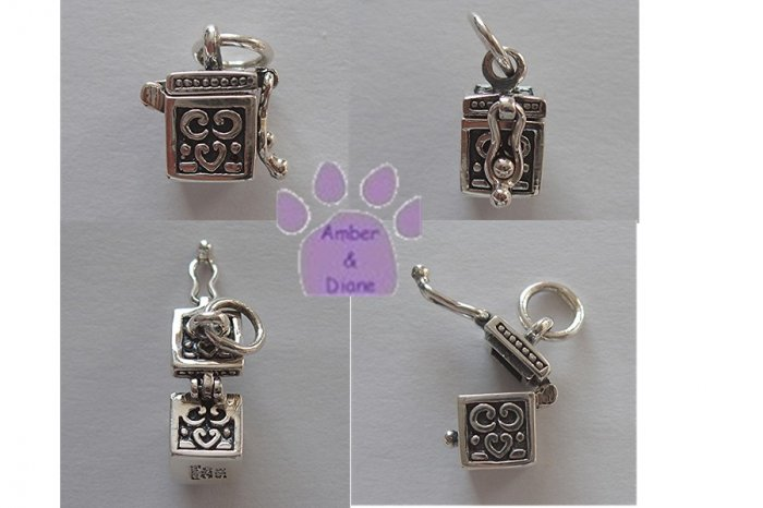 Prayer Box Sterling Silver Pendant top opens with clasp to close charm