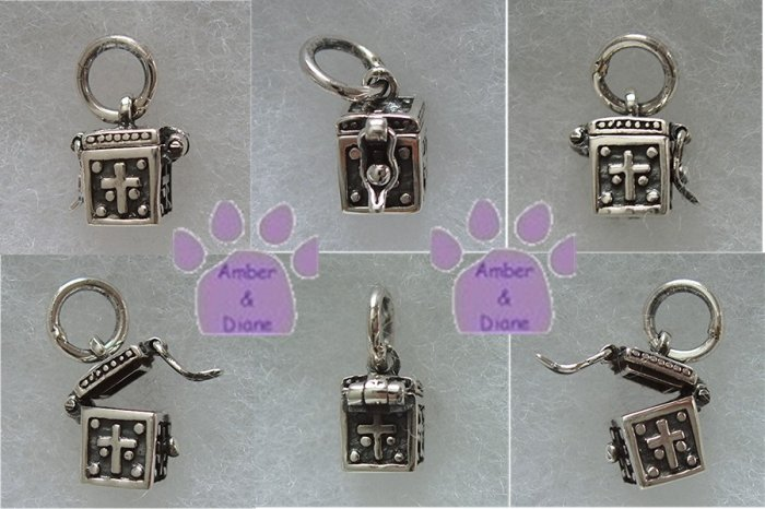 Prayer Box Sterling Silver Pendant with Crosses charm