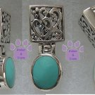 Genuine Turquoise Sterling Silver Pendant with filigree hinged bale