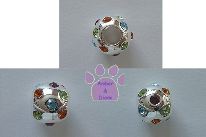 Multi-Colored Cubic Zirconia Sterling Silver Slider or Bead