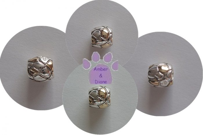 Two-tone Sterling Silver Slider or Bead with polygon shapes