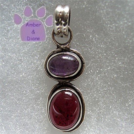 Amethyst and Garnet Sterling Silver Pendant Cabachon Gemstones charm