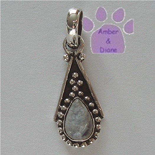 Teardrop Rainbow Moonstone Sterling Silver Pendant charm