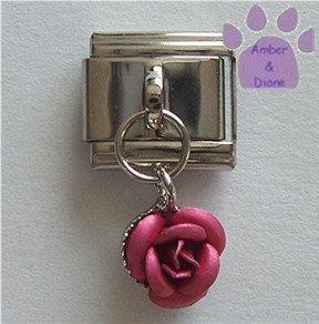 Deep Pink Rose Dangle Italian Charm symbol of love, gratitude