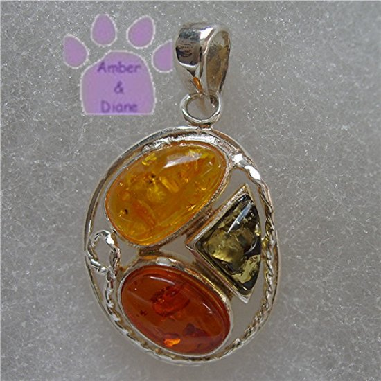 Cognac, Honey & Green Amber Oval Sterling Silver Pendant charm