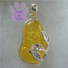 Lemon Amber Silver Pendant with sterling silver leaf design charm