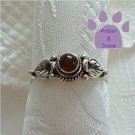 Amber Sterling Silver Ring with leaf design size 8